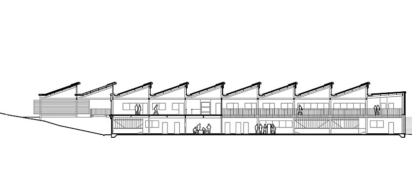 Section through King's Cross Construction Skills Centre