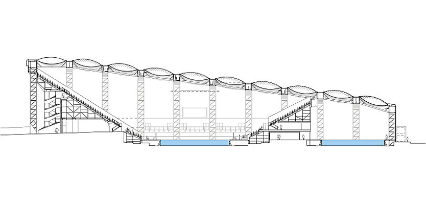 Long section through London 2012 Water Polo Arena