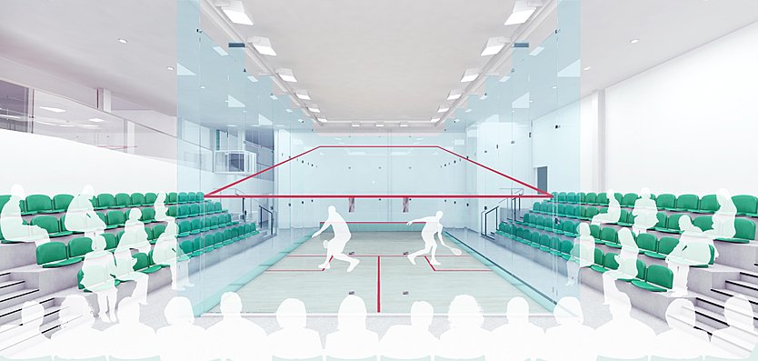 Squash courts are proposed including a full glass court with spectator seating