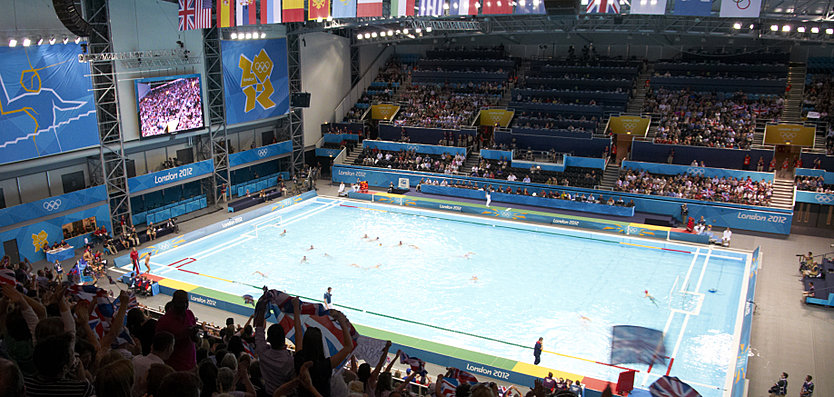 Interior view of London 2012 Water Polo Arena