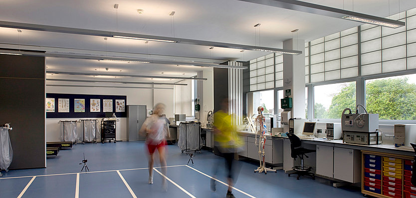 Interior view of Health Exercise and Biosciences Building, Loughborough University